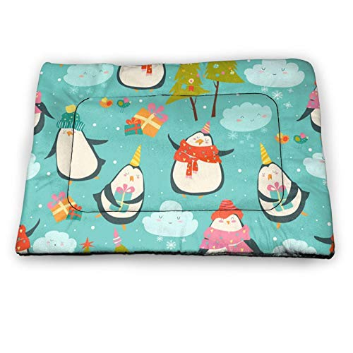 Arehji cute penguins Non Slip Pet Bed Mat Washable Dog Mattress Pad Cat Blanket Cushion 18' x12
