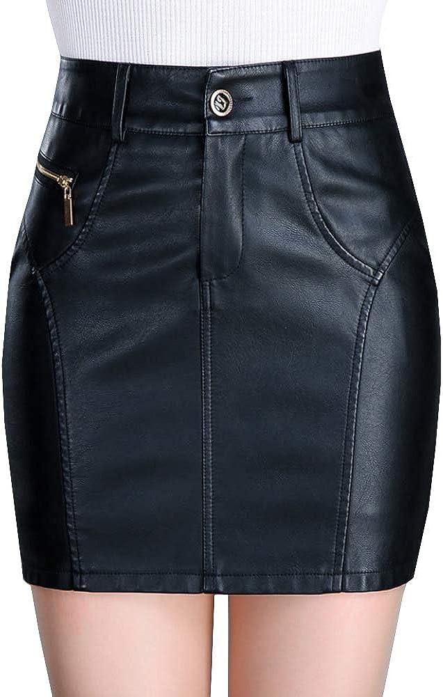 DISSA FS7660 Women Pu Leather Plus Size Mini Short Club Skirt