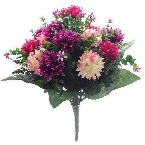 Spikey, fiori artificiali, 41 cm, crisantemi misti, Hot Pink / Wine, 1 Bunch