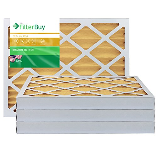 FilterBuy 16x20x2 MERV 11 Pleated AC Furnace Air Filter, (Pack of 4 Filters), 16x20x2 – Gold