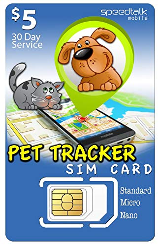 SpeedTalk Mobile $5 PET Tracker SIM Card | 3in1-4G LTE | for Dog/CAT Tracking and Activity Devices