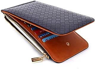 Leather New Women's Wallet Card Wallet Ladies PU Leather Long Wallet Waterproof (Color : Blue, Size : S)