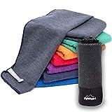 Mikrofaser Handtuch Set 'Brush' - Microfaser Handtücher mit Tasche für Sauna, Fitness, Sport I 1x L(140x70cm) | Grau