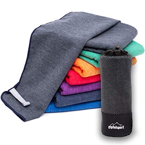 Mikrofaser Handtuch Set 'Brush' - Microfaser Handtücher mit Tasche für Sauna, Fitness, Sport I 1x XXL(200x90cm) | Grau