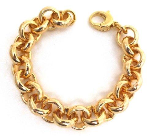 Erbsarmband Gold Doublé 14 mm 21 cm Armband Herren-Armband Goldarmband Damen Geschenk Schmuck ab Fabrik Italien tendenze, EGY14-21