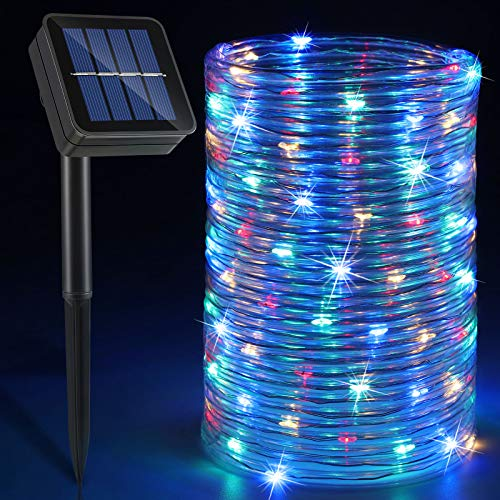 Solar Rope Lights Outdoor, 33ft 100 LED Twinkle String Lights IP65 Waterproof Lighting Indoor Outdoor Fairy Firefly Lights for St.Patrick's Day Party Holiday Carnival Decorations (Multi-Colored)