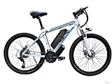 Bicicleta eléctrica MTB de 26 pulgadas Adult Smart Mountain Bike, 48 V/10 Ah batería de litio extraíble, 27 velocidades, 5 archivos, color Blanco y azul., tamaño 26inches