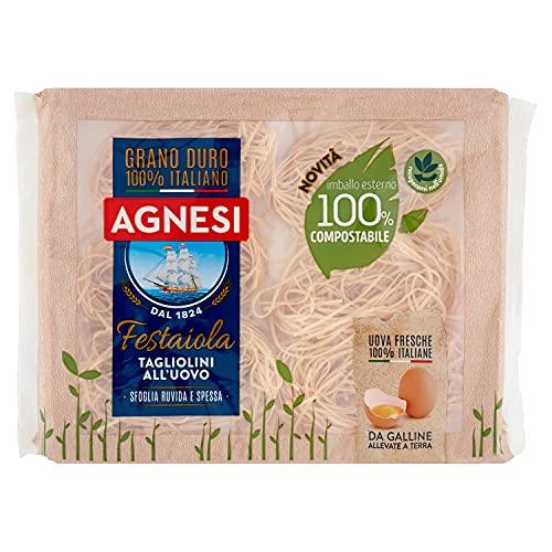 Agnesi Tagliolini all'uovo   Pasta all'uovo Festaiola   Confezione compostabile da 250 grammi