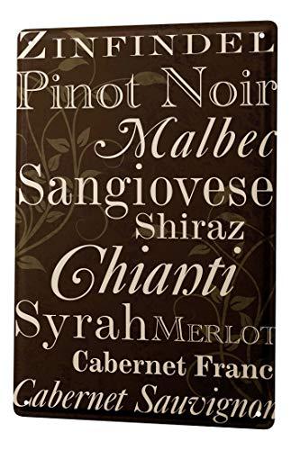 LEotiE SINCE 2004 Targhe Cartello Targa in Metallo Decorazione della Parete Nostalgico Alcool Retro Lista dei Vini Vino Rosso