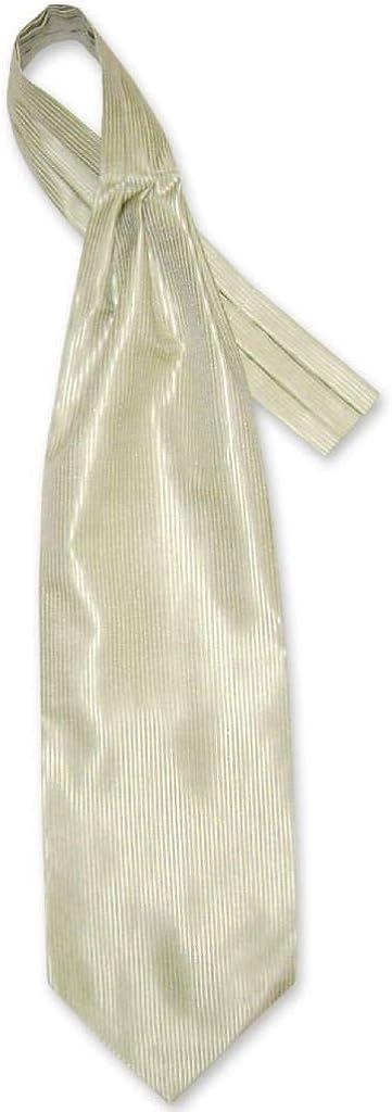 Antonio Ricci ASCOT Solid Light OLIVE Green Ribbed Color Cravat Men's Neck Tie