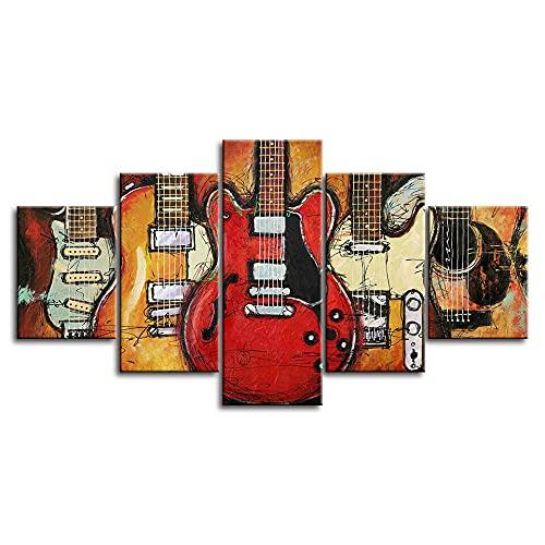 wangdazhuang 5 Lienzos Cuadros Grandes Baratos Guitarras Eléctricas Instrumento Musical Guitarra Cartel...