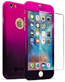 iPhone 6 4.7' Case With Tempered Glass Screen Protector, Bastex Full Body Slim Fit Fade Pink to Purple Ultra Thin Light Weight Hard Snap-On Case for Apple iPhone 6 4.7', iPhone 6s 4.7'