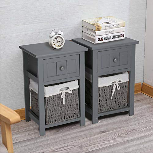 CellDeal Bedside Table Set Of 2pcs Drawers Cabinet Pair Bedroom Bedside Table Unit Cabinet Shabby Chic Wicker Basket Unit (Light grey)