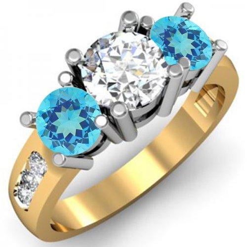 Anillo de compromiso de oro de 14 quilates con topacio azul y diamante blanco de 3 piedras