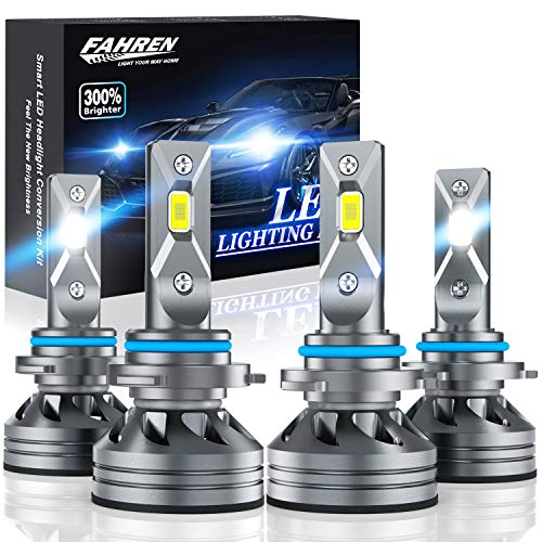 Fahren 9005/HB3 High Beam 9006/HB4 Low Beam LED Headlight Bulbs Combo, 20000 Lumens Super Bright LED Headlights Conversion Kits 6500K Cool White, Pack of 4