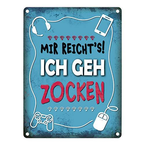 trendaffe - Metallschild mit Spruch: Mir reicht's! Ich GEH zocken