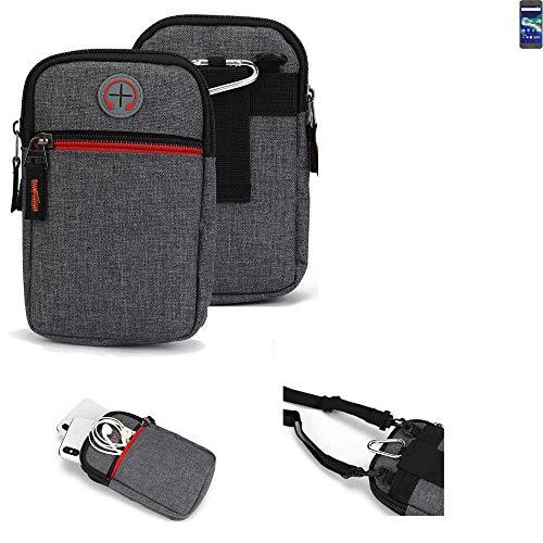 K-S-Trade Gürtel-Tasche Kompatibel Mit General Mobile GM 6 Handy-Tasche Holster Schutz-hülle Grau Zusatzfächer 1x