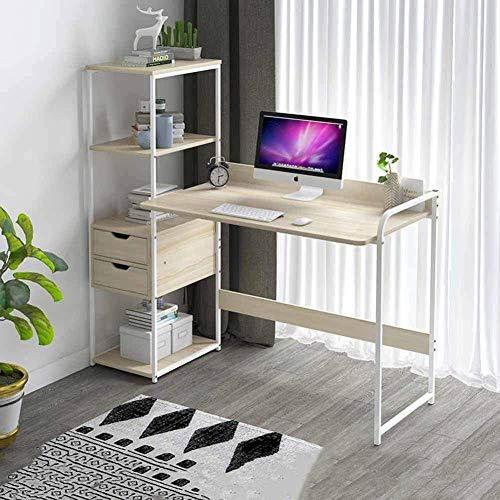DXX Computadora de escritorio con estantes de almacenamiento de madera ordenador de mesa cajones Hogar Oficina Gaming tabla del escritorio del estudio 115X40X121Cm