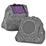 Innovative Technology Outdoor Rock Speaker Pair - Wireless Bluetooth Speakers for Garden, Patio, Waterproof, Built for all Seasons & Solar Powered with Rechargeable Battery, Music Streaming - Charcoal