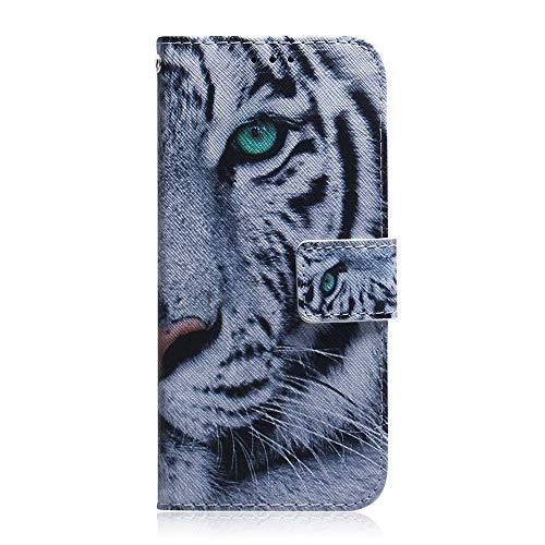 Sunrive Hülle Für BQ Aquaris E5s/E5, Magnetisch Schaltfläche Ledertasche Schutzhülle Etui Leder Hülle Cover Handyhülle Tasche Schalen Lederhülle MEHRWEG(T Tiger)
