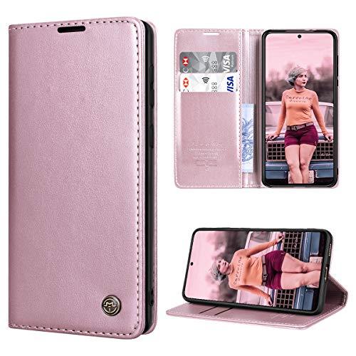 SmartLegend Handyhülle für Samsung Galaxy S21+ Plus Hülle Premium Leder PU Flip Hülle Magnetisch Klapphülle Kartenfach Tasche Silikon Bumper Schutzhülle für Galaxy S21+ Plus 5G (6.7 Zoll) - Rose Gold