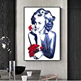 Rote Blumen Wandregal Wohnzimmer Poster und Drucke schöne Frauen schwarz und weiß Frau Wandbild...