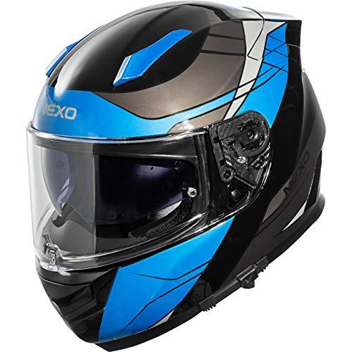 Nexo Integralhelm Motorradhelm Helm Motorrad Mopedhelm Integralhelm Fiberglas Sport III Blau Dekor L, Unisex, Sportler, Ganzjährig