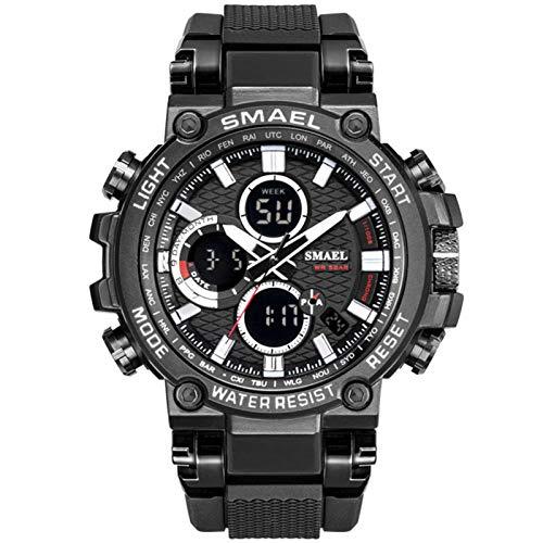 JTTM Reloj Analógico Digital Militar Reloj Deportivo Hombres Dual Dial Negocio Casual Multifunción Relojes De Pulsera Electrónicos Reloj Resistente,Black and White