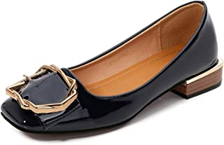 Women's Square-Toe Flats, Large Size Heel High 2Cm Polygonal Metal Decoration Closed-Toe Single Shoes Casual Suitable for Everyday and Hiking Wear