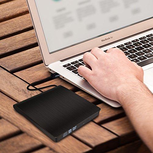 USB 3.0 Externes DVD Laufwerk von Paragala, Ultra slim Externes CD Laufwerk Tragbarer DVD CD Brenner Leser mit Eingebautem Kabel, Externe Optische Laufwerk für Laptop Notebook und Desktop (Schwarz)