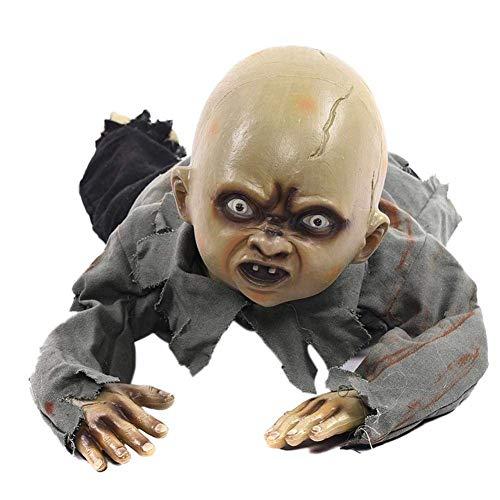 iPawde Halloween Krabbeln Baby Horror Zombie Elektronische Lichtempfindliche Horror Zombie Halloween Dekorationen Krabbeln Geister Bar Haunted House Secret Room Requisiten Dekoratives Spielzeug