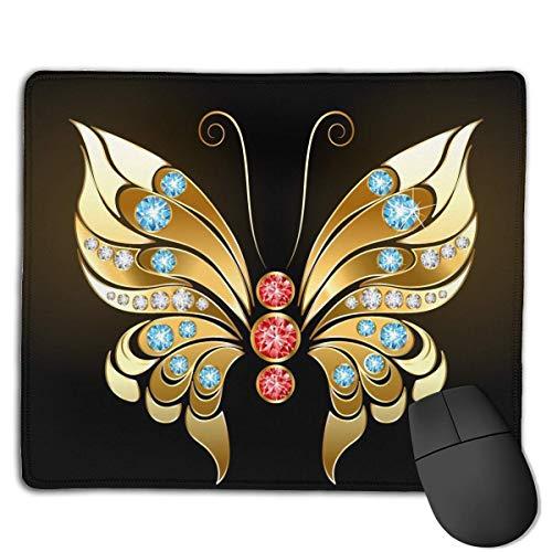 Alfombrilla de ratón Goldern Butterfly Jewelry Images Rectangular Mousepad Antideslizante Gaming...