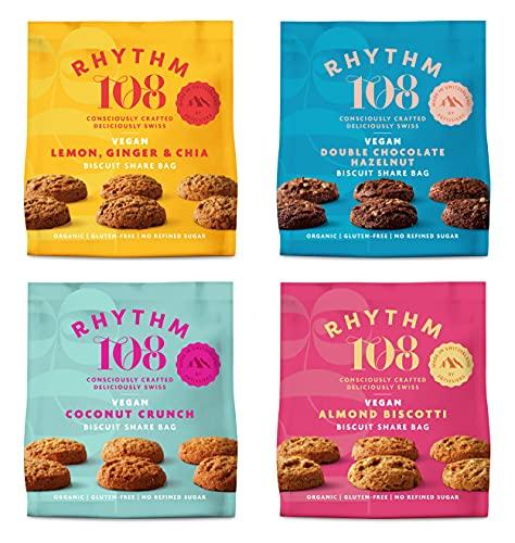 Rhythm 108 Organic Vegan Gluten & Dairy Free Tea Biscuits Share Bag Mixed Case of 4 x 135g