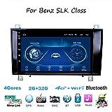 Android Car Stereo Radio Sat Nav Double DIN para Mercedes Benz SLK R171 W171 Navegación GPS Pantalla táctil de 9 Pulgadas Unidad Principal Reproductor Multimedia Receptor de Video