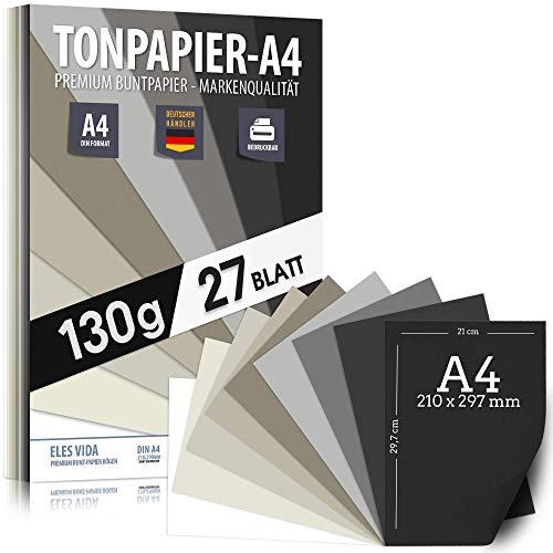 27 Blatt Grau und Schwarz Töne Tonpapier 130g/m² – PREMIUM PAPIER DIN A4 - 21 x 29,7 cm - Druckerpapier Dunkel unbedruckt für Fotografie, Präsentationen, Basteln, Scrapbooking, Karton MADE IN GERMANY