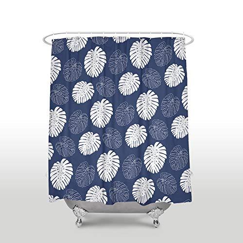 QAQ Starry Sky Douchegordijn, waterdichte tropische planten, met haken, polyester-weefsel, marineblauw, badkamergordijnen voor interieurs