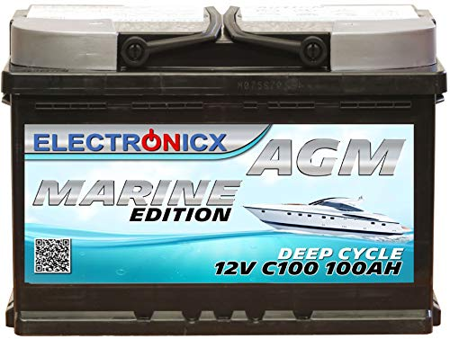 AGM Batterie 100AH Electronicx Marine Edition Boot Schiff Versorgungsbatterie 12V Akku Deep Bootsbatterie Autobatterie Solarbatterie Solar Batterien