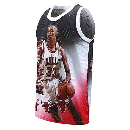 Ordioy Camiseta De Baloncesto, Legend Scottie Pippen # 33 Chicago Bulls NBA Basketball Swingman Jersey, Sudadera Transpirable Resistente Al Desgaste, Camisetas, Camisetas,3XL