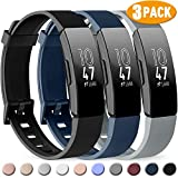 Pack 3 Silicone Bands for Fitbit Inspire HR & Fitbit Inspire & Ace 2 Replacement Wristbands for Women Men Small Large (Large: for 7.1'-9.1' Wrists, Black+Navy Blue+Gray)