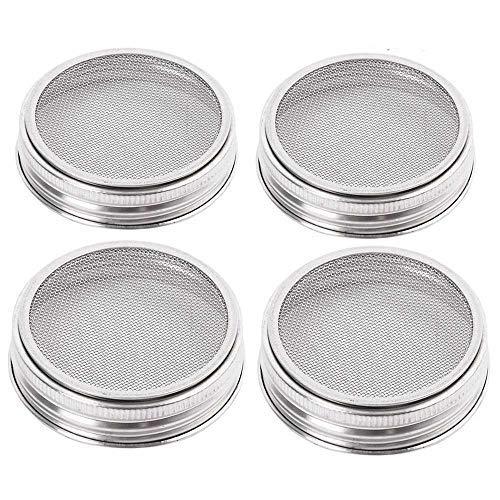 Merrday 4pezzi in acciaio INOX Sprouting Jar Lid kit per la massima ventilazione a bocca larga Mason barattoli barattoli per conserve, per realizzare organico Sprout semi nella vostra casa cucina