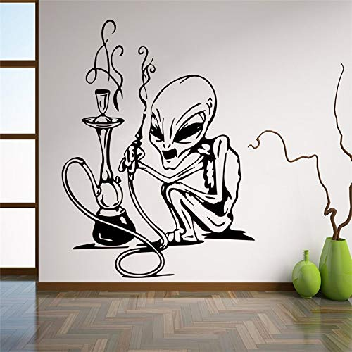 Ajcwhml Calcomanía de Pared Extraterrestre y cachimba OVNI Espacio Pegatina de Vinilo Universo Galaxia Fuego decoración Interior del hogar habitación Bar decoración de relajación - 42X56CM-42X56CM