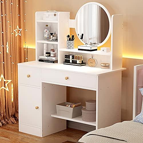 YCTTMM Tocador, Mesa de Maquillaje con Espejo Grande - Belleza Tocador Moderno para Niña con 2 Cajones y 3 Compartimentos de Almacenamiento - sin Taburete (Blanco)