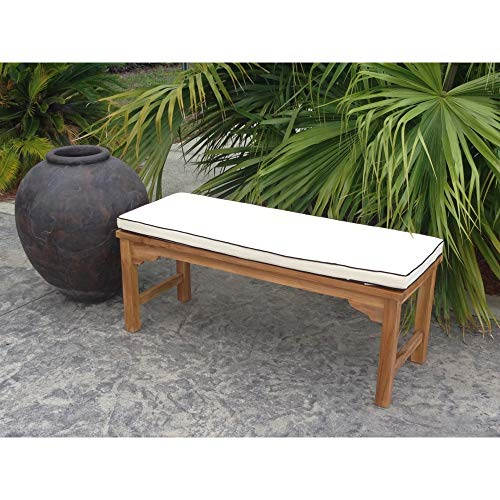 Unknown1 Cushion for Chic Teak 4 Ft Santa Bench White Solid Casual Modern Contemporary Nylon Removable Cover Water Resistant