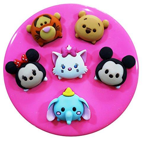 Tsum Tsum Mickey Minnie Winnie l'ourson Tigrou Dumbo Moule Moule en silicone pour décoration de gâteaux gâteaux en pâte à sucre Fairie Blessings
