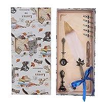 クイルフェザーペン、ヨーロッパのヴィンテージレトロな書道ペン5ペン先とインクセット、Anitque Dipクイルペンフェザー万年筆ペンセット家の装飾ギフト(白い)