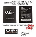 UP! ULTIMATE PARTS Original Batterie pour Wiko Type 5260 2820mAh 10,716Wh 3,8V Wiko Pulp Fab 4G/3G...