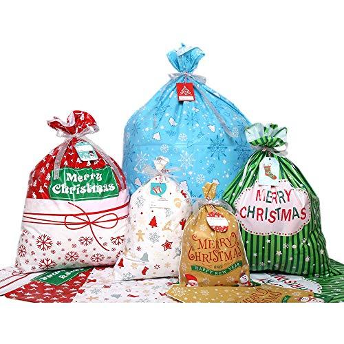 DERAYEE 30 Stück Weihnachtsgeschenkverpackung Beutel groß für Weihnachtsparty vorhanden Dekorationen mit 30 Stück vorhanden Tags Label und Ribbon Krawatten (verschiedene Stile)