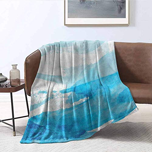 ParadiseDecor Aqua Picnic Blankets Brush Strokes Paint Stains Microfiber Flannel Blankets for Couch, Bed, Sofa 60x60 Inch