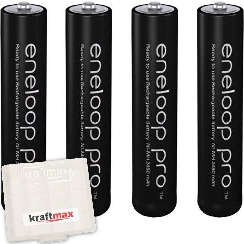 4er Pack Panasonic Eneloop PRO XX AAA/Micro Akkus - Neueste Generation - 950 mAh Hochleistungs Akku Batterien in Kraftmax Akkubox V5