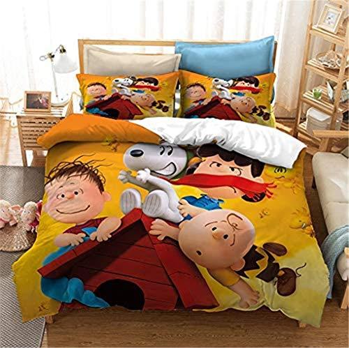 SMNVCKJ -Peanuts Snoopy Ropa de cama infantil, Snoopy y Woodstock ropa de cama, funda nórdica con funda de almohada de Snoopy, impresión 3D, para niños y adultos (220 x 240 cm, 13 cm)